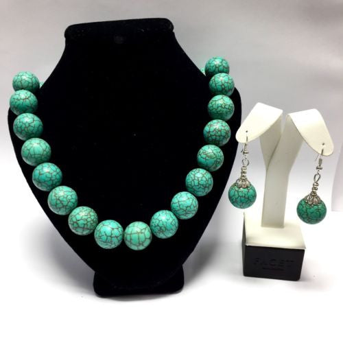 Gorgeous Sterling Silver TURQUOISE NECKLACE & EARRINGS 19 Inches Long