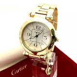40mm PASHA de CARTIER 18K Solid Yellow Gold Men's/Unisex Watch 330ft WR In Box