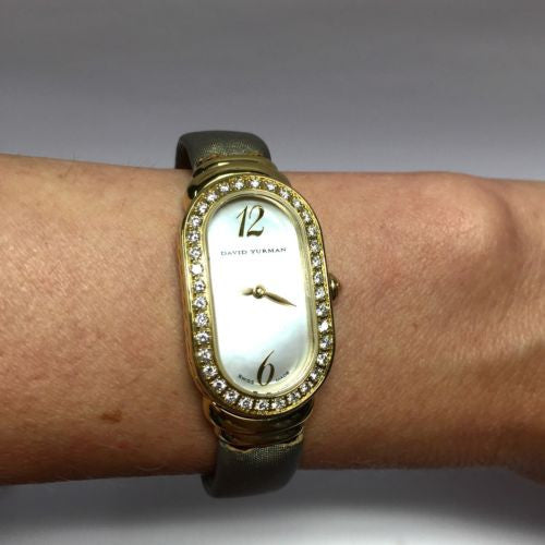 DAVID YURMAN 18K Solid Yellow Gold Ladies Watch w/ Factory DIAMONDS In Mint Cond