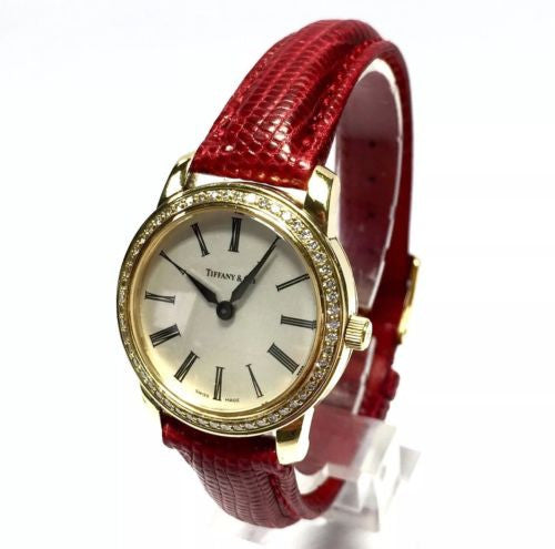 TIFFANY & CO. 18K Gold Ladies Watch ALL FACTORY DIAMONDS Red Band in BOX