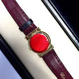 CHOPARD 18K Gold Ladies Watch w Gorgeous Mother Of Pearl Dial Diamonds & Rubies