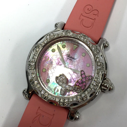 CHOPARD HAPPY SPORT Steel Ladies Watch w/ Factory Diamonds & Rubies Fish-shaped