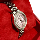 ROLEX DATEJUST Steel Ladies Watch Pink Dial Double Row Diamond & Dimond Bezel