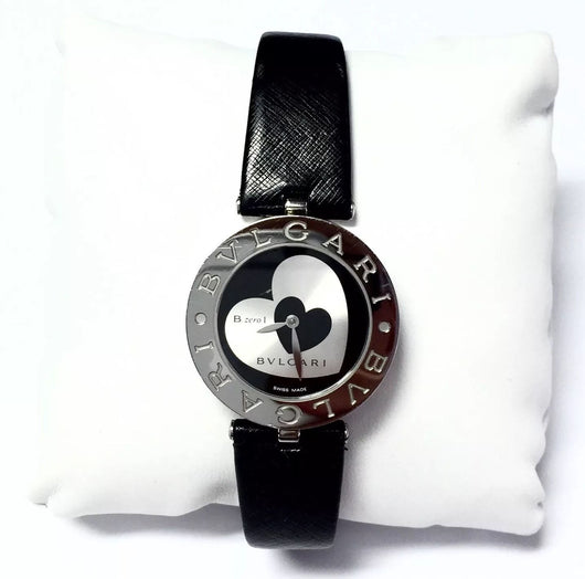 30mm BVLGARI B.zero.1 Steel Ladies Watch Heart Dial & Black Leather Band in Box