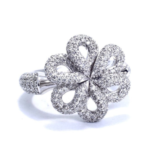 14K White Gold Flower DIAMOND RING 1.2 TCW F VS2 Size 6.25, 12.9g APPRAISAL CERT