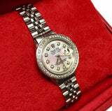 ROLEX DATEJUST Steel Ladies Watch, Pinkish-Greenish MOP Dial & DIAMONDS & BOX