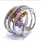 18K WHITE GOLD Ladies RING w/ Multi Color SAPPHIRES & DIAMONDS Size 7, 13.4g
