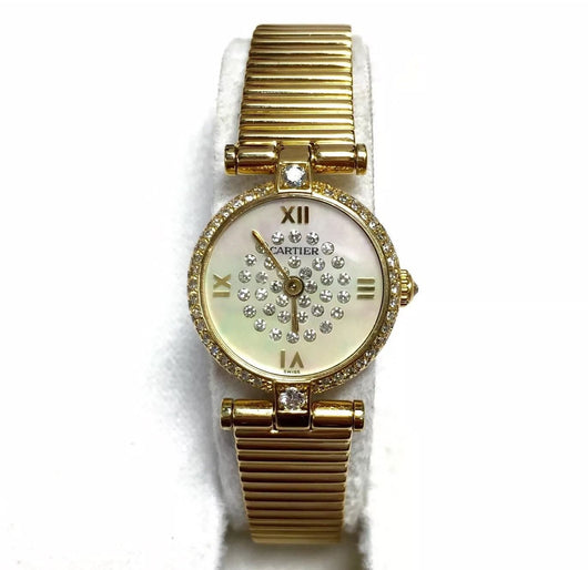 Boutique CARTIER 18K Yellow Gold Ladies Watch w/ ALL FACTORY DIAMONDS in Box