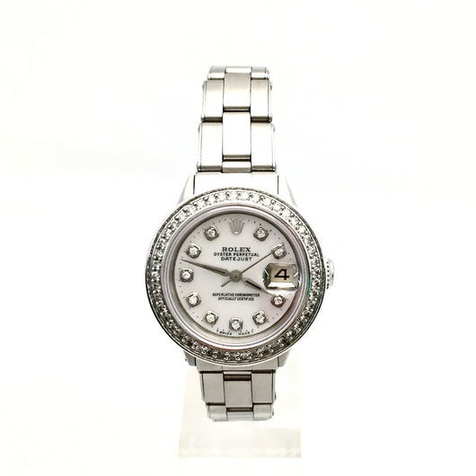 28mm ROLEX OYSTER PERPETUAL DATEJUST SS Ladies Watch White Pearl Dial & Diamonds