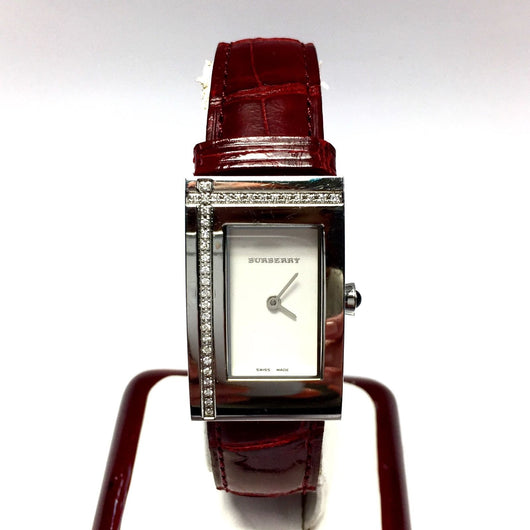 BURBERRY Stainless Steel Ladies Watch w/ DIAMONDS & Burberry Red Alligator Band