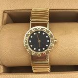 BVLGARI 18K Solid Yellow Gold Ladies Watch w FACTORY DIAMONDS & Tubogas Bracelet