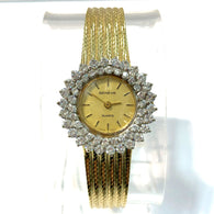 GENÈVE Quartz 14K Solid Yellow Gold Ladies Watch ~3TCW FACTORY DIAMONDS Swiss