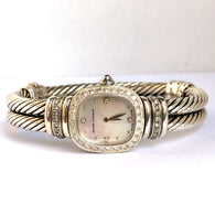 DAVID YURMAN 925 Silver Ladies Bracelet Watch DIAMONDS Mother Of Pearl Dial