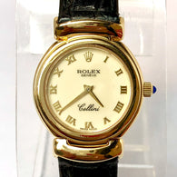 ROLEX CELLINI Automatic 18K Yellow Gold Ladies Wrist Watch Black Band In Box