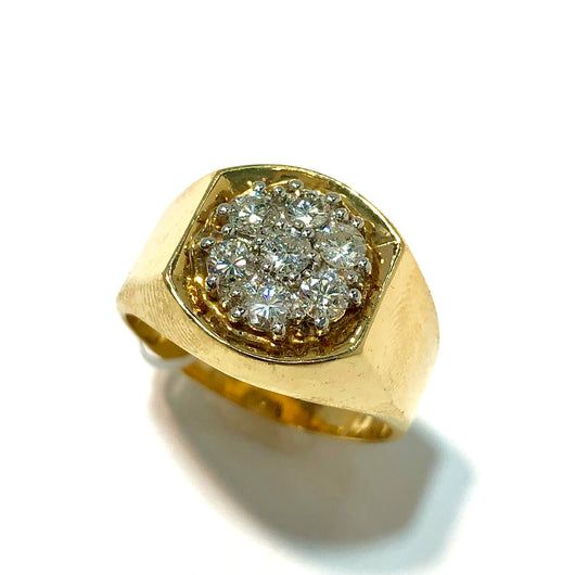 14K Yellow Gold 1.5TCW Round Cut Natural DIAMONDS Men's Ring 15.7g Size 12.5