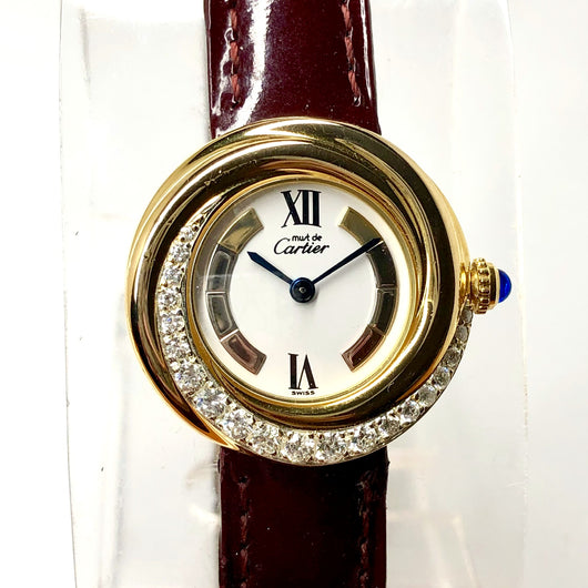 MUST DE CARTIER VERMEIL Quartz GP Ladies Watch 0.46TCW DIAMONDS CARTIER Band