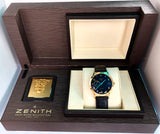 ZENITH ELITE Automatic 18K Yellow Gold Men's Watch SKELETON Back Case Original Band