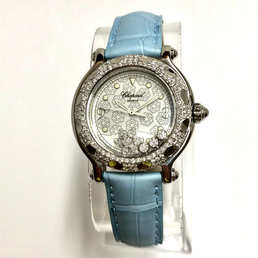 CHOPARD HAPPY SPORT Steel Ladies Watch Snowflakes Dial DIAMOND Bezel