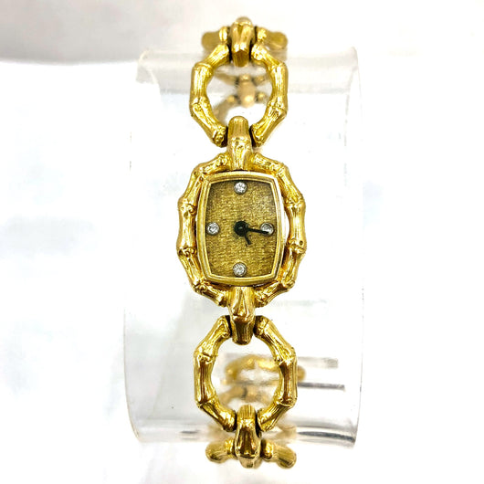 CHOPARD Quartz 18K Solid Yellow Gold Ladies Bracelet Watch FACTORY DIAMONDS