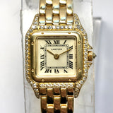 CARTIER PANTHERE 18K Yellow Gold Ladies Watch DIAMOND Case and Crown