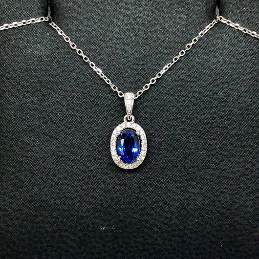18K White Gold 0.69ct Blue SAPPHIRE & 0.08TCW of 26 Natural DIAMONDS Pendant with Chain 0.8g Weight