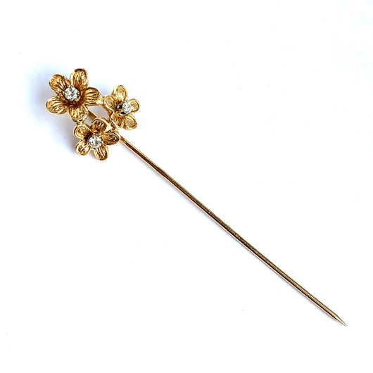 Estate 14K Solid Yellow Gold PIN with Genuine DIAMONDS 2.4 Inches Long
