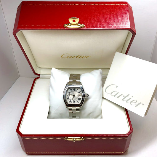 CARTIER ROADSTER Date Quartz Stainless Steel Ladies Watch Silver Dial in Box