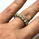 New Platinum 4.10TCW Natural Round 17 DIAMONDS Enternity Ladies Ring 8.2g