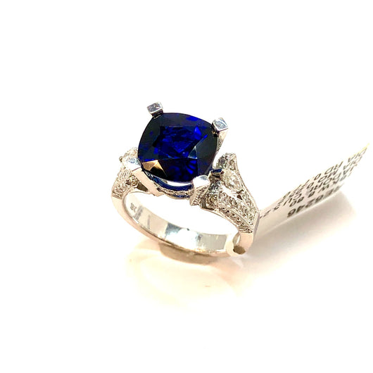 New 18K White Gold 5.24ct Cushion Blue Jadore SAPPHIRE 1.02TCW DIAMONDS Ring8.8g