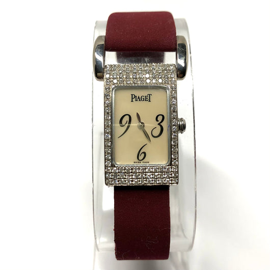 PIAGET MISS PROTOCOLE Platinum & 18K White Gold DIAMONDS Ladies Watch MOP Dial