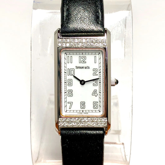 TIFFANY & CO. Quartz Steel Ladies Watch ~0.48TCW DIAMOND Bezel T&Co Leather Band