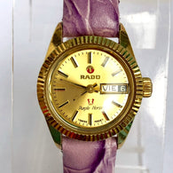 RADO PURPLE HORSE Day Date Automatic Goldplated & Steel Ladies Watch 17 Jewels