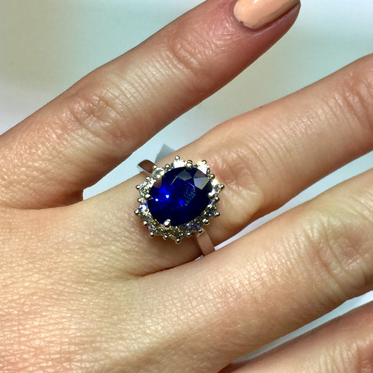 Copy of New 14K White Gold 3.83ct Blue SAPPHIRE & 0.77 TCW F-G VS DIAMONDS Ladies Ring 4.40g