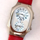 PHILIP STEIN Steel Ladies Watch MOP Dial Lizard Band. Stress relief watch. Natural Frequency Technology