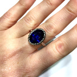New 14K White Gold 7.25ct Blue Oval SAPPHIRE Ladies Ring 6.9g
