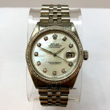 ROLEX OYSTER PERPETUAL DATEJUST Steel Men's/Unisex Watch 1TCW DIAMOND Dial Bezel