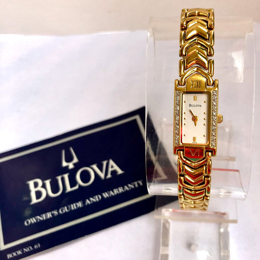 BULOVA Quartz Goldplated & Steel Ladies Watch FACTORY DIAMONDS Box & Papers