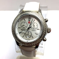 MICHELE JETWAY DIAMOND Chronograph Steel Ladies Watch 112 Diamonds Original Band