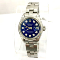 ROLEX DATEJUST Steel Ladies Watch FACTORY Blue Diamond Dial & Oyster Bracelet