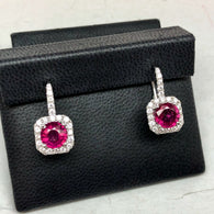 New 18K White Gold 3.30TCW Round RED RUBY & 0.76TCW Of 42 Natural DIAMONDS Earrings, 5.9g