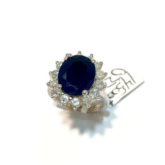 14K White Gold 5.21ct Natural Blue SAPPHIRE & 1.7TCW DIAMONDS Ladies Ring 6.2g