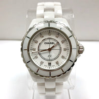 CHANEL J12 Date Quartz Steel & White Ceramics Ladies Watch FACTORY DIAMONDS