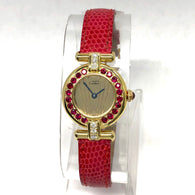 CARTIER Vermeil COLISÈE Quartz GoldPlated Ladies Watch F-G VS-SI DIAMONDS & RED RUBIES
