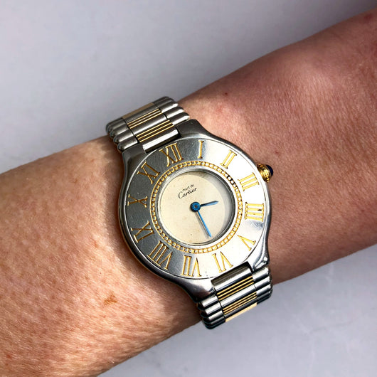 Must De CARTIER 21 Quartz 31mm Gold-Plated & Stainless Steel Ladies Watch