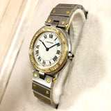 SANTOS 32mm Quartz 18K Gold & Steel 0.38TCW DIAMOND Bezel Men's/Unisex Watch
