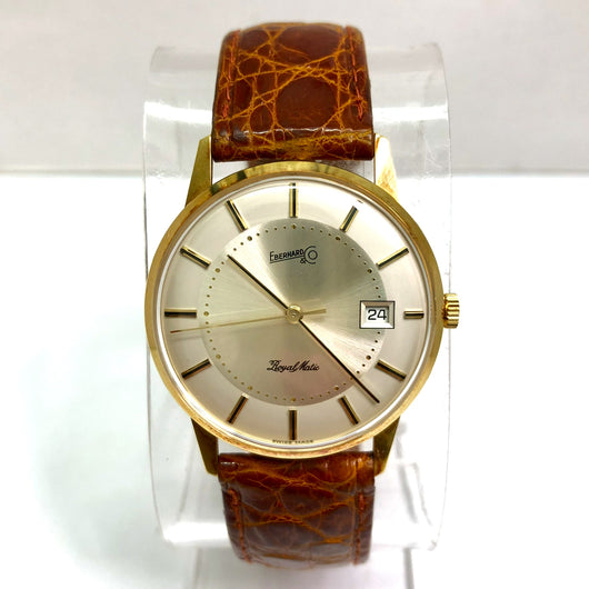 EBERHARD & Co. ROYAL MATIC 18K Solid Yellow Gold Men's Watch Original Brown Band