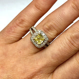 New 18K White Gold 1.24ct Fancy Yellow Cushion DIAMOND Ladies Ring 5.20g