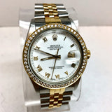 ROLEX OYSTER PERPETUAL DATEJUST 18K Yellow Gold & Steel Men's/Unisex Watch with Diamonds