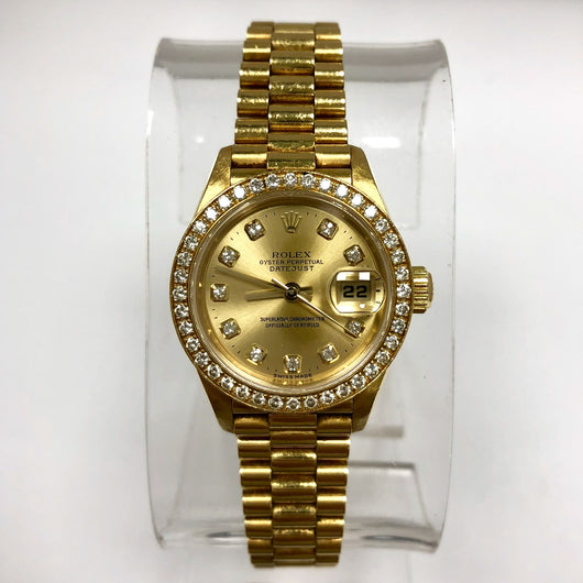 ROLEX OYSTER PERPETUAL DATEJUST 18K Yellow Gold Ladies Watch DIAMOND Bezel & Factory Dial