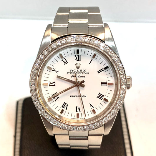 ROLEX OYSTER PERPETUAL AIR KING PRECISION Steel Men's/Unisex Watch Diamonds G-F, VS